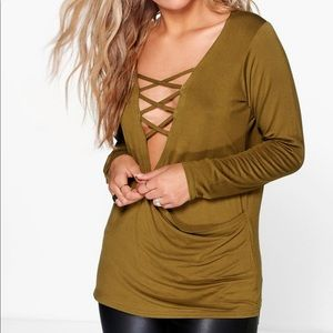 Boohoo Olive Green Wrap Lace Up Top